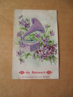 Ransart Carte Illustrée Gauffrée Gramophone Et Fleurs  Circulée 1910 Cachet Jumet Ransart Printed In Germany - Belgium