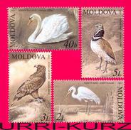 MOLDOVA 2003 Nature Fauna Rare Birds Red Book Swan Heron Eagle Bustard 4v Mi 481-484 MNH - Moldova