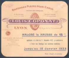 Pub Publicité Louis Coponat Rue De La Thibaudière LYON Bandages Pleins Pour Camions  12 X 14 Cm Pneu Roue - Werbung