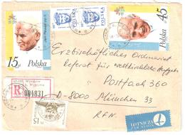 WYSZKOW Wegrowa Registred Letter Air Mail Brief Eingeschrieben Luft Lettre Recommandée Avion Jean Paul 2 Pape Yv 2909 10 - 1944-.... Republik