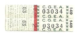 2 Tickets C.G.E.A. Transport Touristique. France. Voir Description - Europe