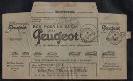REMIREMONT - VOSGES - AUTO - MOTO - VELO / 1924 PEUGEOT TELEGRAMME ILLUSTRE (ref 4915) - Storia Postale