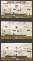 2012 Ecuador Steamships Complete Set Of 3 Sheets MNH - Ecuador