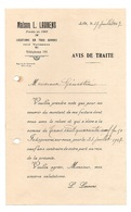Avis De Traite Maison L. Laurens Locations En Tous Genres Pour Tapissiers En 1927 - Frankrijk