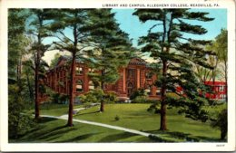 Pennsylvania Meadville Library And Campus Allegheny College 1937 Curteich - United States