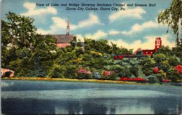 Pennsylvania Grove City College View Of Lake And Bridge Showing Harbison Chapel And Science Hall Curteich - United States