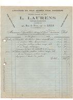 Facture Locations En Tous Genres Pour Tapissiers L. Laurens Tapissier-décorateur à Lille En 1927 - Frankrijk