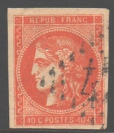 Yvert 48 / Michel 43 / Scott 47 - Oblitéré TB - Signé Roumet - 1870 Bordeaux Printing