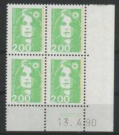 N° 2621 ** (MNH). Coin Daté Du 13/4/90. TB - 1990-1999