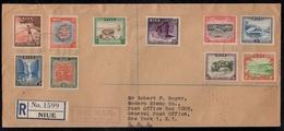 NIUE / 3-7-1950 SERIE COMPLETE FDC SUR LETTRE RECOMMANDEE POUR LES USA (ref 1866) - Niue