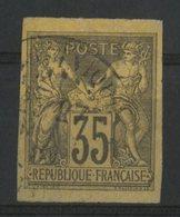 N° 49 Cote 40 € COLONIES GENERALES 35ct Violet-noir Sur Jaune Type Sage. Oblitéré. - Sage