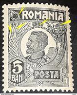 Errors Romania 1920-22 King Ferdinand, 5b With Printed Line înclined Cut Crown And Line Vertical Cut Leaf Palmer - Variedades Y Curiosidades