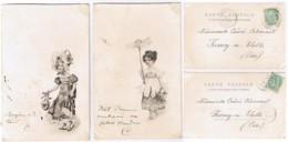 CPA Dos Non Divisé - DEUX CPA 1903 LA MODE FLEURIE - PRECURSEURS - TRES FINS - Moda