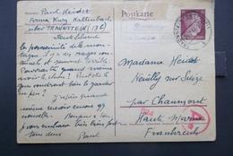 Deutsches Reich: 1944 Censored Postal Card To Frankreich (#EY3) - Germany