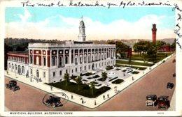 Connecticut Waterbury Municipal Building 1945 Curteich - Waterbury