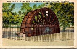 Connecticut Waterbury Water Wheel To First Brass Mill In America Built 1845 1948 - Waterbury