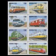 BURKINA FASO 1998 - Scott# 1121a-h Train Set Of 8 MNH - Burkina Faso (1984-...)