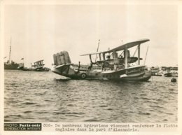 PHOTO ORIGINALE HYDRAVIONS VENANT RENFORCER LA FLOTTE ANGLAISE DANS LE PORT D'ALEXANDRIE  20 X 15 CM - Aviation