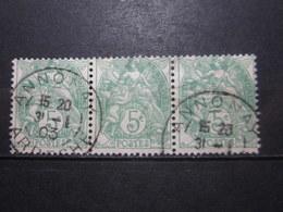 """VEND BEAUX TIMBRES DE FRANCE N° 111 EN BANDE DE 3 , OBLITERATIONS """" ANNONAY """" !!! - 1900-29 Blanc"""