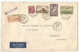 PA N°14 +293+260+338 LETTRE REC AVION C. HEX PARIS 96 C AIR FRANCE 28.4.1937 POUR INDOCHINE - Marcophilie (Lettres)