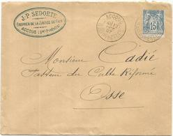 SAGE 15C LETTRE TYPE A ACCOUS BSES PYRENEES 12 AOT 1897 - Storia Postale