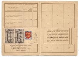 CHENONCEAUX 15FR PAIRE +20FR BLASON CARTE ABONNEMENT PTT PARIS 1944 AU TARIF AFFR RARE - Postmark Collection (Covers)