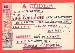Carton Petites Annonces Grand Hall De Publicité Lyon Timbres Fiscaux Affiches Rare Utilisation - Steuermarken