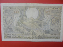 BELGIQUE 100 FRANCS 1938 CIRCULER (B.6) - [ 2] 1831-... : Reino De Bélgica