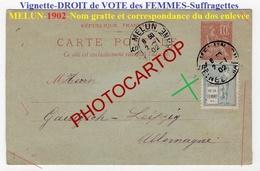RARE-SUFFRAGETTES-Vignette 1902-Cachet MELUN-Droit De La FEMME-VOTE-Politique-Pionniere- - Histoire