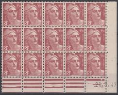 716B  3,50 F. ROUGE BRUN MARIANNE GANDON - BLOC De 15 Daté 25.3.47 - Dated Corners
