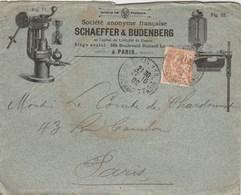 MOUCHON 15C SUR ENVELOPPE ILLUSTREE SCHAEFFER ET BUDENBERG CHAUDIERES MACHINES A APEUR PARIS 1902 - Covers & Documents