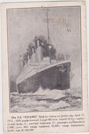 Titanic Kaart Verstuurd 1 Maand Na De Ramp In 1912 - Steamers