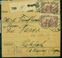 Deutsches Reich, Reichspostamt Berlin Nr. 114 B Paar Auf Paketkarte BPP Geprüft - Storia Postale