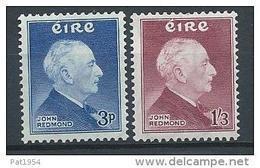 Irlande 1957 N°128/129 Neufs ** MNH John Redmond - 1949-... République D'Irlande