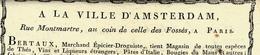 1800 SUPERBE ENTETE IMPRESSION XVIII° A LA VILLE D'AMSTERDAM PARIS BERTAUX Avec Signature - 1800 – 1899