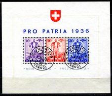 VE0428 SVIZZERA 1936 Pro Patria Foglietto CU # BF2 Usato, Valore Catalogo 310 €, Ottime Condizioni - Svizzera