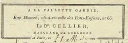 """1800 PARIS MARCHAND DE COULEURS """"A LA PALLETTE GARNIE""""  Citoyen Cellier - Frankrijk"""