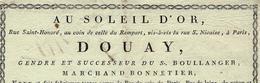 1800 Paris ENSEIGNE AU SOLEIL D'OR Douay Marchand Bonnetier Rue St Honoré - 1800 – 1899