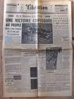 Journal Libération (8 Mai 1959) 1945-1959  Une Victoire Confisquée Au Peuple - Problème Allemand - Festival De Cannes - 1950 à Nos Jours