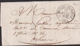 LETTRE DE L'INDRE AVEC CACHET TYPE 13 DE SAINT-BENOIT-DU-SAULT LAC 1832 TB - Storia Postale