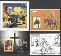 E1695 MIX ANTIGUA & BARBUDA BEQUIA ST. KITTS ART PAINTINGS JOHN PAUL II BACH CAVALRY 4BL MNH - Famous People