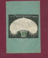 210120 - Grande Enveloppe Porte Timbre Illustrée Grand Magasin AU PRINTEMPS Affranchie 5c Semeuse Verte 1914 - Marcophilie (Lettres)