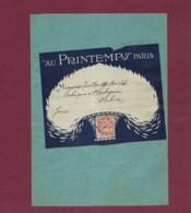 210120 - Grande Enveloppe Porte Timbre Grand Magasin AU PRINTEMPS Affranchie 3c Mouchon Orange 1914 - Marcophilie (Lettres)