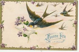 Bonne Fête - Belle CPA Gaufrée - Hirondelle Apportant Le Courrier - Fêtes - Voeux