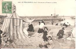 LE POULIGUEN (44) Un Coin De La Plage Et La Jetée En 1906 (Belle Animation) - Le Pouliguen
