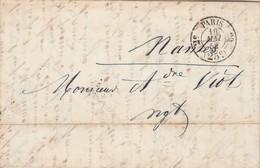 LAC Cachet PARIS Taxe 25 Route 20 2 ème 16/5/1852 à Nantes - Verso Ambulant Ligne De Tours - Marcophilie (Lettres)