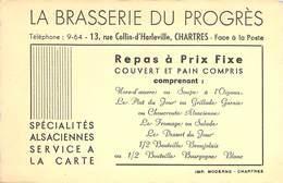 """CPA / CARTE DE VISITE FRANCE 28 """"Chartres, Brasserie Du Progrès, Rue  Collin D'Harleville"""" - Chartres"""