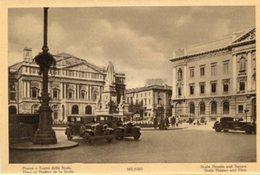 Milano - Fotografia Antica PIAZZA E TEATRO DELLA SCALA, Animata (con Testo In Varie Lingue) - OTTIMA N4 - Luoghi