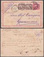 Egypte - EP 5m + 1m En Paire D'Alexandrie 27/02/1893 Vers Grammont Belgique Via Brindisi (RD143) DC5646 - Egypt