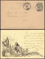 """Belgique - EP 5c Avec Repiquage Privé Illustré Verso """"Armoirie"""" De Eecloo 14/09/1899 Vers +Gand (RD157)DC5670 - Ganzsachen"""